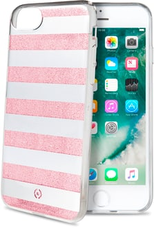 Celly iPhone 6/6s/7/8 glitter stripes Backcov pink