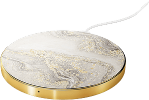 iDeal of Sweden Wireless Charging Plate Marble Grey/Gold Front