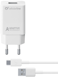 cellularline Charger 220V USB C ultrafast cable white