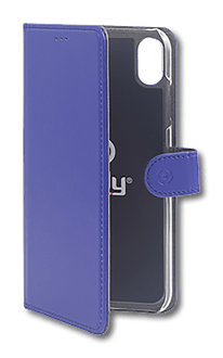 Celly iPhone Xs Max Book Stand Case blue